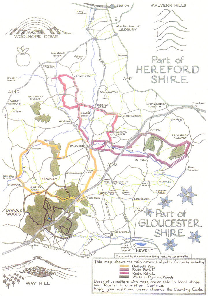 Map of the Dymock Poets' Paths